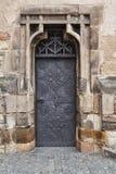 Old door. Old metal castle door in Czech Stock Photo