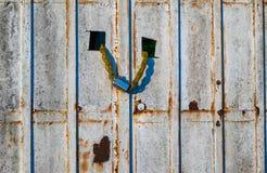Old door with metal locker Royalty Free Stock Photos