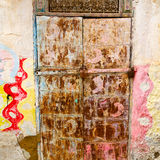 old door in morocco africa ancien and wall ornate brown Stock Photography