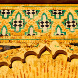 old door in morocco   africa ancien and wall ornate   yellow Stock Image