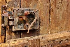 Old Door with Mortise Lock and doorknob Stock Photos
