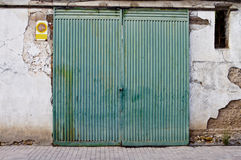 Old door in old street of shops Stock Photography