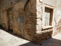 OLD DOOR, OLD WINDOW, FAZANA, CROATIA stock photos