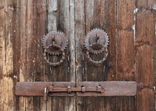Old Door Ring on a Wood Door Stock Photo