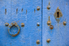 Old door with rusty knocker and latch. Stock Photos