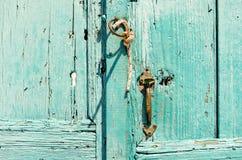 Old door in Santorini in Greece. Royalty Free Stock Photo
