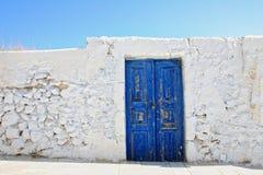 Old door on Santorini island Royalty Free Stock Images