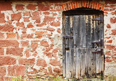 Old Door and Stone Wall stock photo