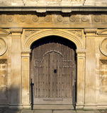 Old door to Cambridge College. UK Stock Photo