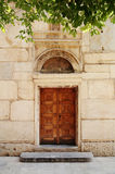 Old door to the church. Greece,Athens royalty free stock image