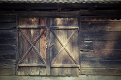 Old door to traditional romanian cottage Stock Images