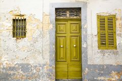 Old door of a typical Maltese House. Front view of Old door of a typical Maltese House Stock Photography