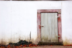 Old door and a white wall Royalty Free Stock Photography