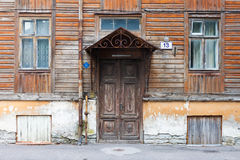 Old door and window of wooden house Stock Image