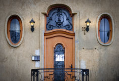 Old door and windows in Budapest, Hungary, Europe. royalty free stock photo