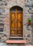 Old door. Old wooden door of a brick wall Royalty Free Stock Photos