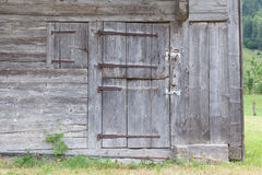 Old door in a wooden shed Royalty Free Stock Photo