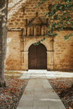 Old door with wrought iron decoration Royalty Free Stock Photo