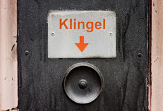 Old doorbell germany. Retro doorbell in germany, vintage button Royalty Free Stock Photography
