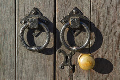 Old doorknob and handles Royalty Free Stock Photo