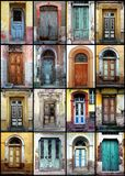 Old doors. A detail shot of variety of old doors stock photo