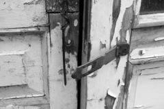Old doors. Black and white photo stock images