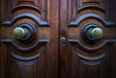 Old doors of the city of Valletta. Malta. Old wooden Maltese doors royalty free stock photography