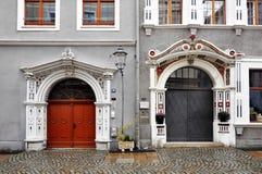 Old doors  with decorative elements. Goerliz, Germany - Ocober 15, 2015: Old doors adorned with decorative elements. Saxony Royalty Free Stock Image