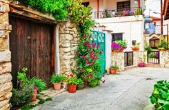 Beautiful floral streets of traditional villages of Cyprus island. stock images
