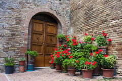 Old doors with flowers. Old 12th - 13th century building with big wooden doors and flowers around, one of the many in the beautiful Italian city of San Gimignano royalty free stock image