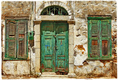 Old doors. Greece. Ancient old doors in greek island Symi Royalty Free Stock Photos