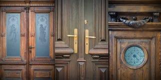 Old doors, handles, lattices and windows Stock Photos