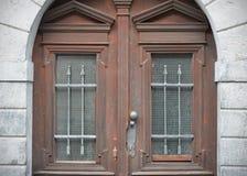 Old doors, handles, locks, lattices and windows. Stock Image