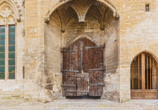 Old doors at Popes Palace in Avignon, France Royalty Free Stock Image