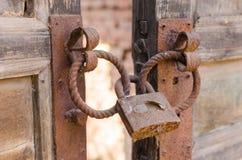 Old doors, rusty lock Royalty Free Stock Image