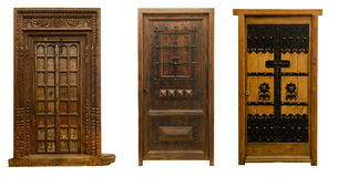 Old doors set 10. Old beautiful wooden carved doors set Royalty Free Stock Photos