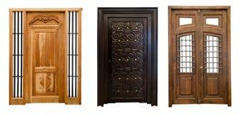 Old doors set 4. Old beautiful wooden curved doors set Stock Photos