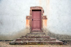Old doors with steps. Old church side doors with steps, Perrigny sur Loire, France Stock Photos