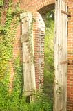 Old Doorway. Attached to a brick wall Royalty Free Stock Photos
