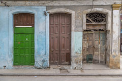 Old doorways and facade, Havana, Cuba Royalty Free Stock Photography