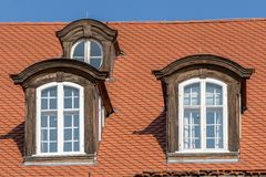 Old dormer. Three old dormer on an old historical building Royalty Free Stock Photo