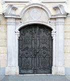 Old double carved metal Austrian door Royalty Free Stock Image