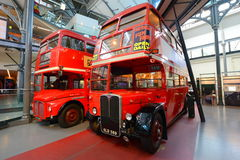 Old double deckers at London transport museum Royalty Free Stock Photography