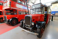 Old double deckers at London transport museum Royalty Free Stock Image