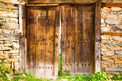Old double rustic wooden barn doors Stock Photography