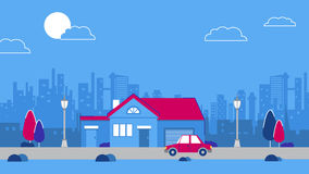 An old downtown house on the city sky scrapers background. Vector Red retro style car. Blue and red color scheme Stock Images