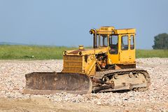 Old Dozer. At a construction site stock photo