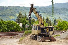 Old Dozer. At a construction site stock photography