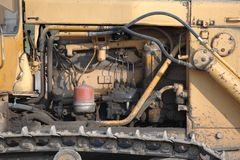 Old Dozer. At a construction site royalty free stock image