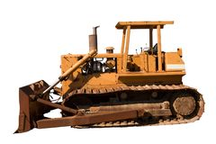 Old Dozer Side View. This is a side view of an old bulldozer isolated on white Royalty Free Stock Photo